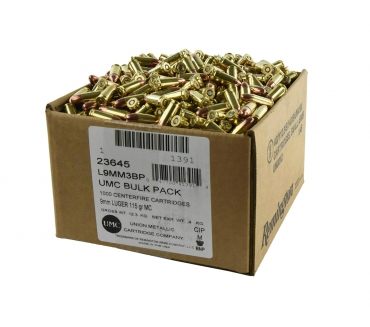 9mm Luger, FMC, 115 Grain, 1,000 Rounds, Loose Bulk