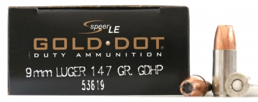 Speer® LE Gold Dot® Duty Ammunition 9mm 147 GR GDHP